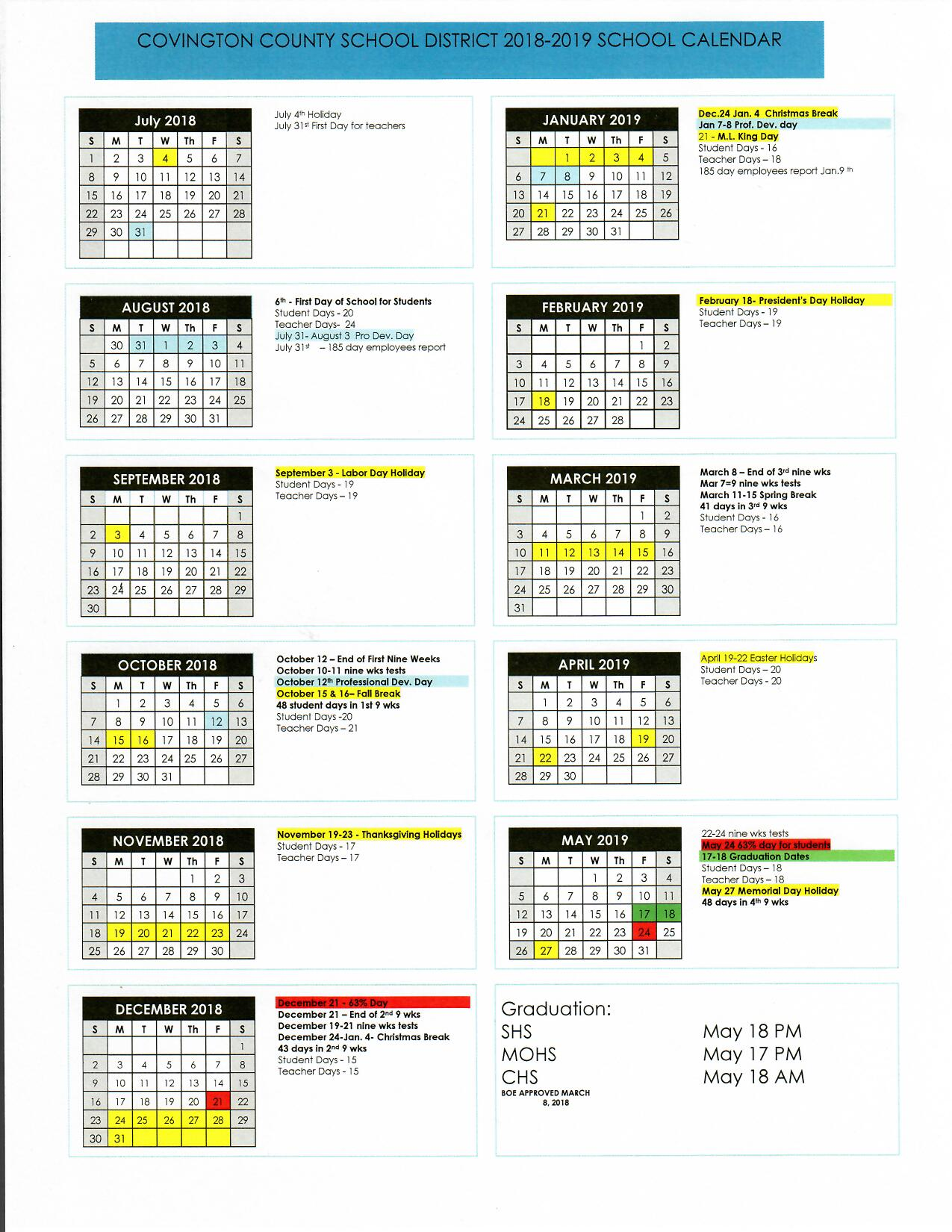 School District Calendar Ccsd Technology Department